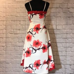 Anthropologie Dresses - EUC Anthro FoxieDox red white floral A-lime dress